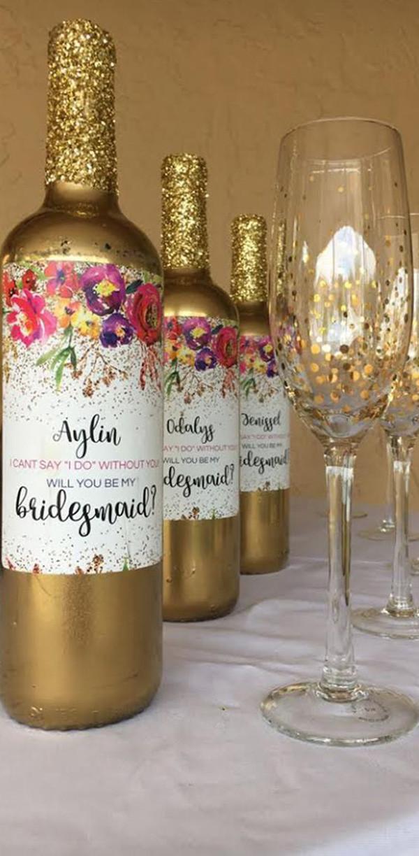 personalized champagne and glasses for bridesmiad gift ideas