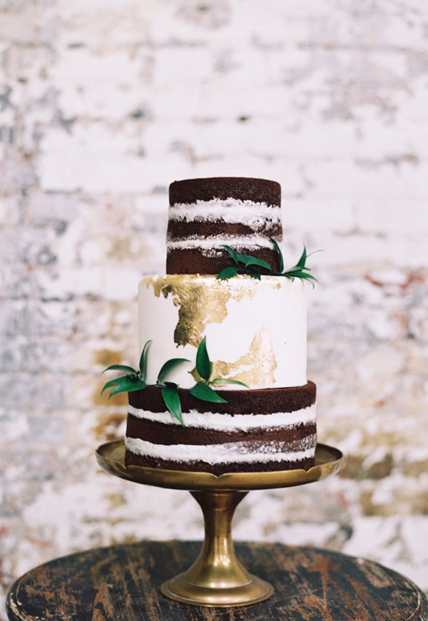 vintage gold and green metallic wedding cakes