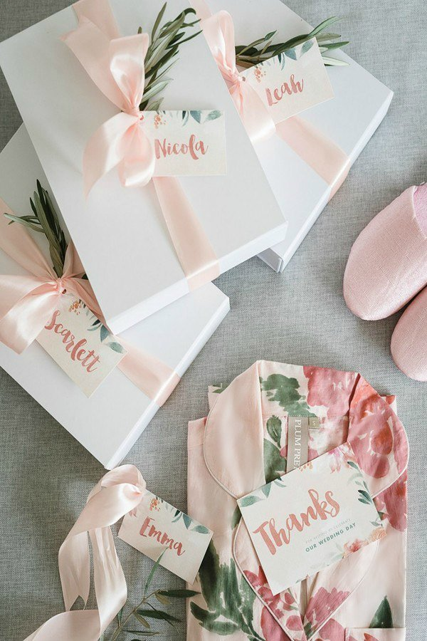 wedding bridesmaid gift ideas pastel robes