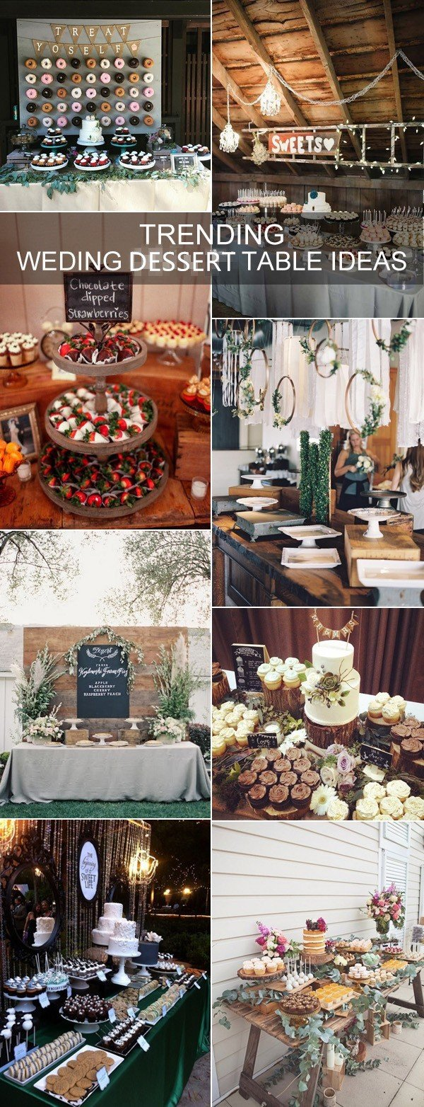 2017 trending rustic wedding dessert table decoration ideas