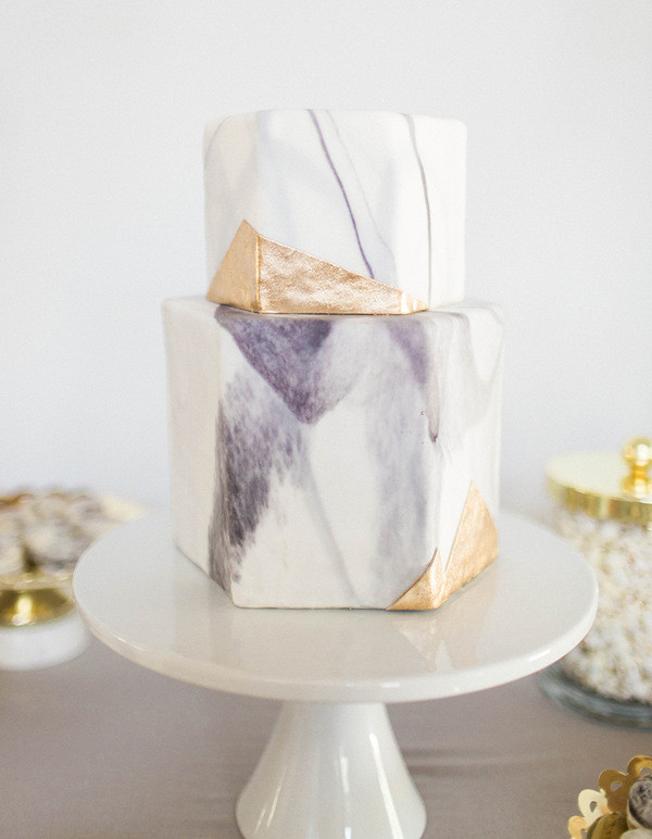 Pretty Marble Cake with Pops of Gold