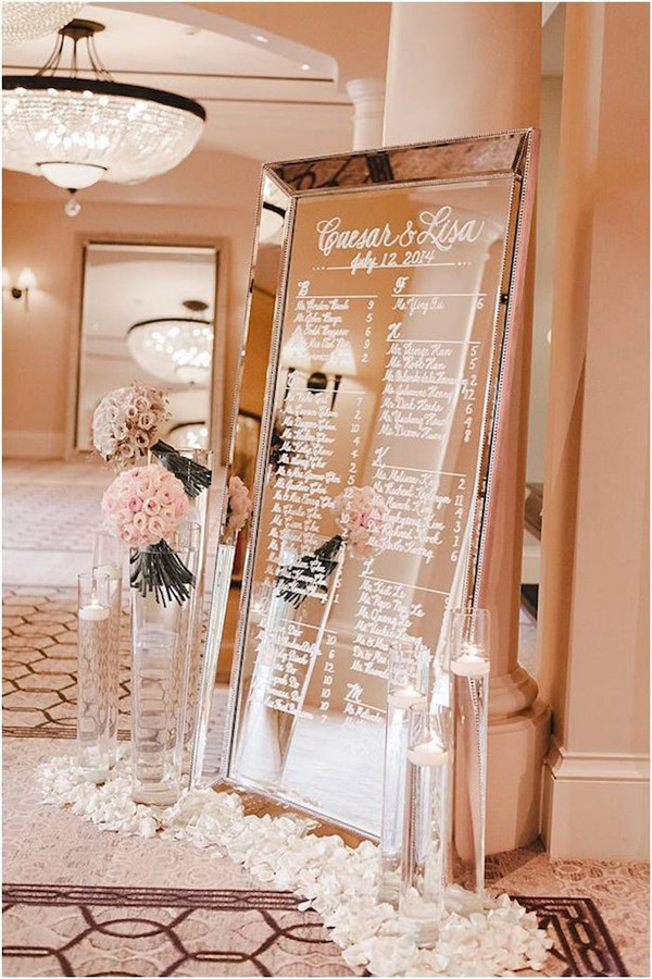 Amazing Vintage Mirror Wedding Seating Chart Ideas