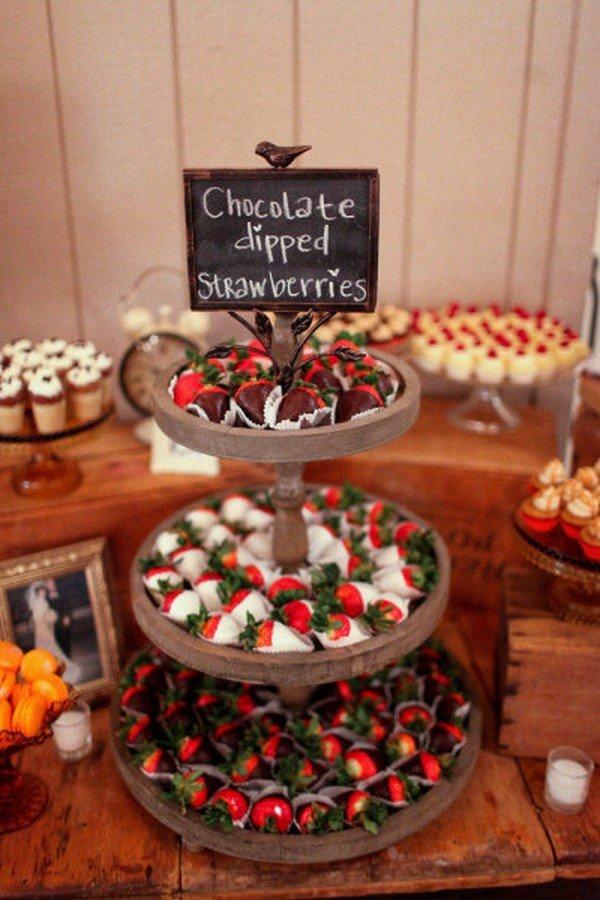 chocolate dipped strawberries vintage wedding dessert ideas
