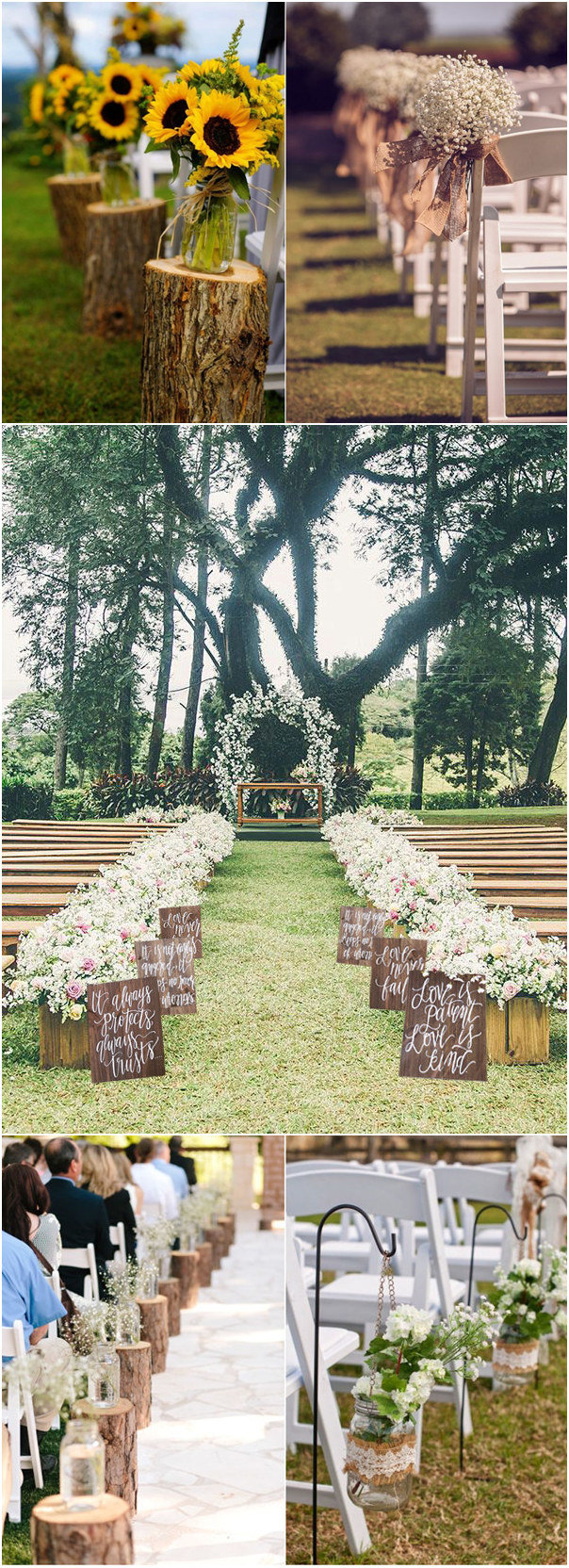 32 rustic wedding decoration ideas to inspire your big day for Aisle wedding decoration ideas