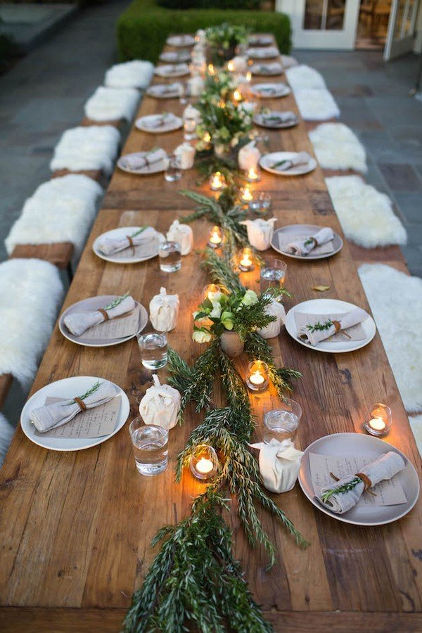 country rustic wedding table decoration ideas with floral and candle lights