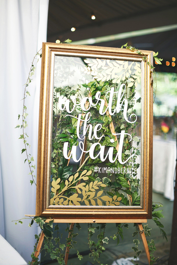 gold and greenery vintage wedding sign