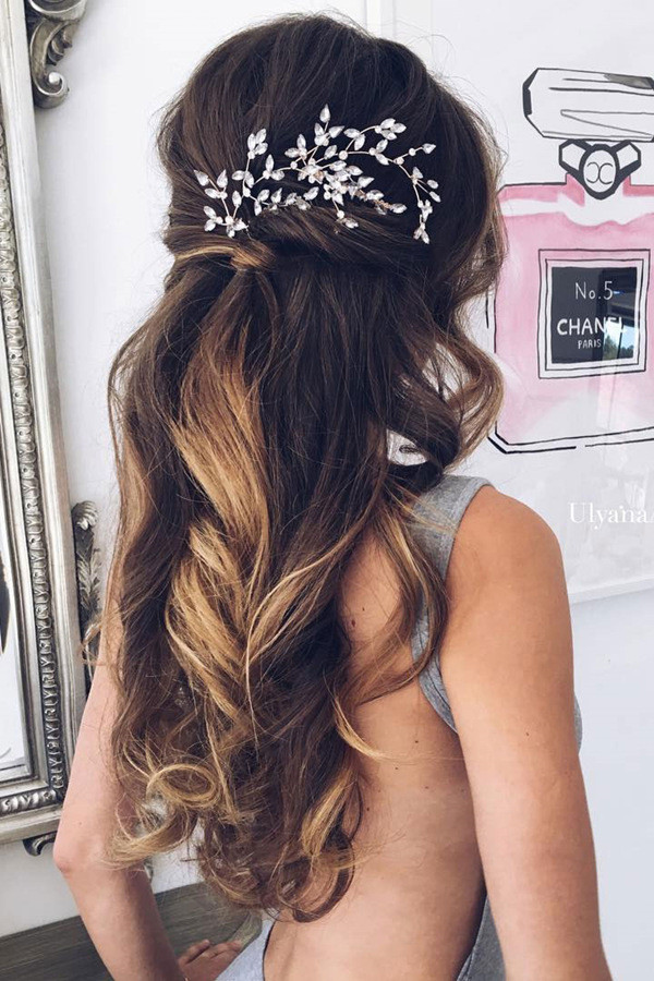 half up half down wedding hairstyles with headpiece