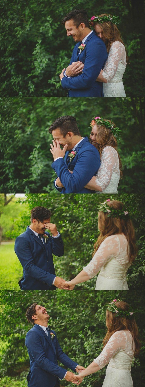 heart melting first look wedding photos