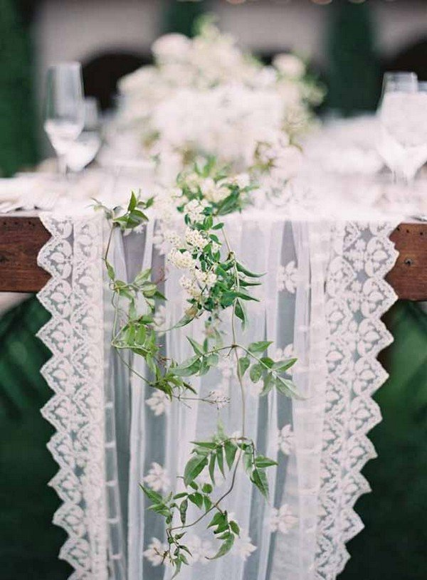 lace and floral wedding table decoration ideas