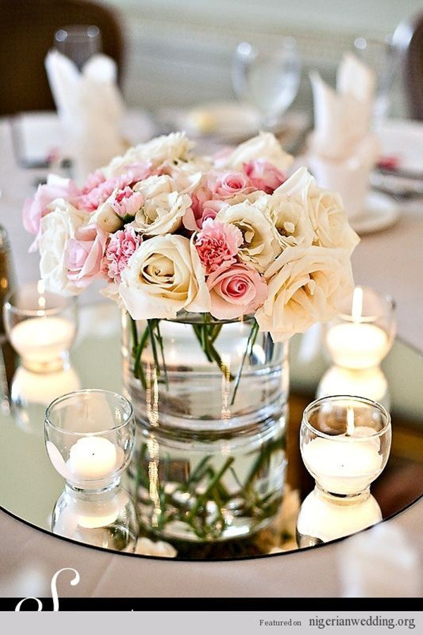 mirror and candles wedding centerpiece ideas