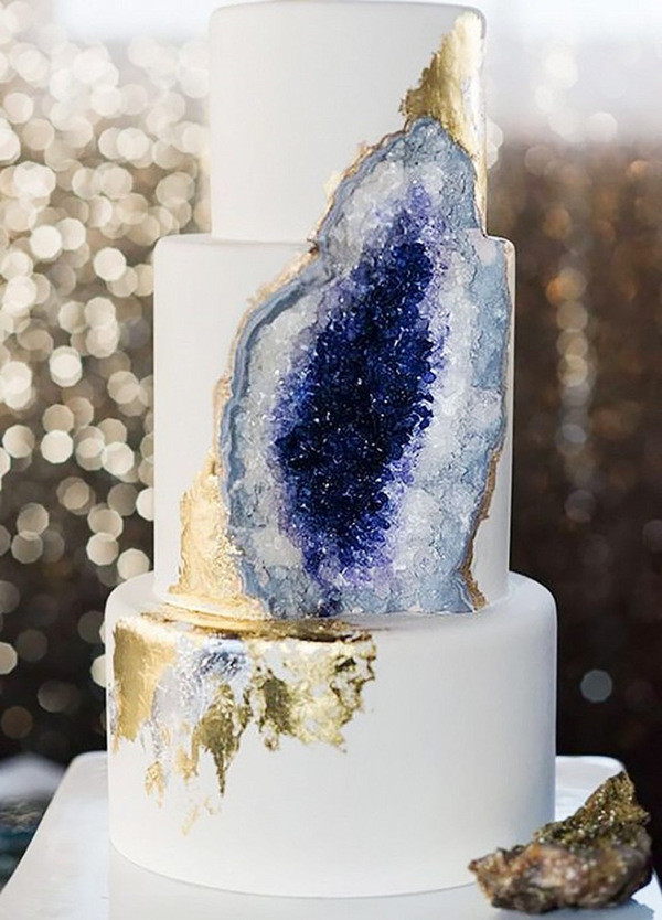 navy and gold geode wedding cakes