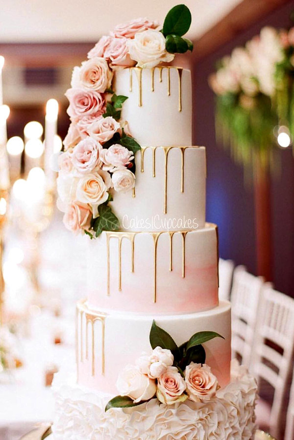 pink floral with gold drip wedding cakes for 2017