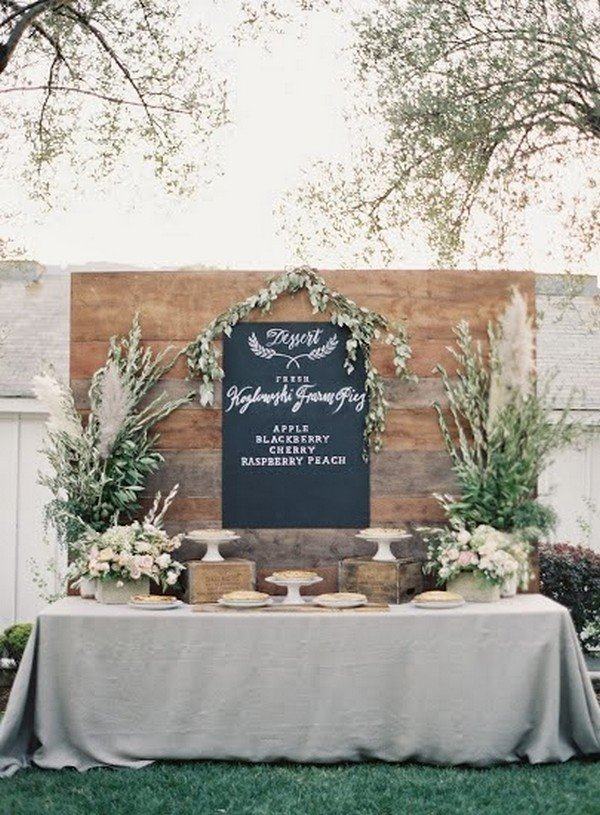 rustic and elegant wedding dessert table