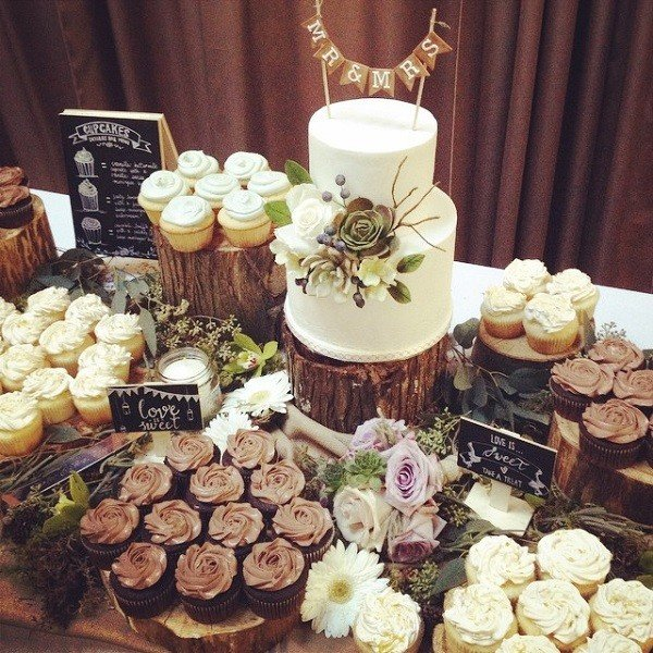 16 Country Rustic Wedding Dessert Table Ideas