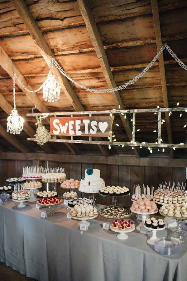rustic wedding dessert table decoration ideas