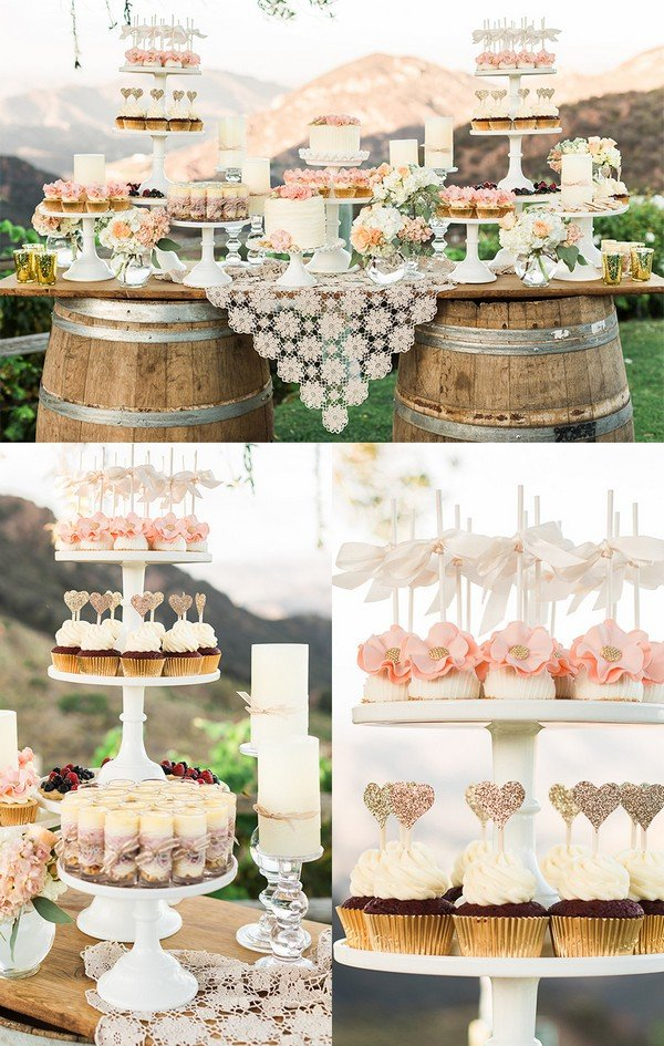 shabby chic rustic wedding dessert table