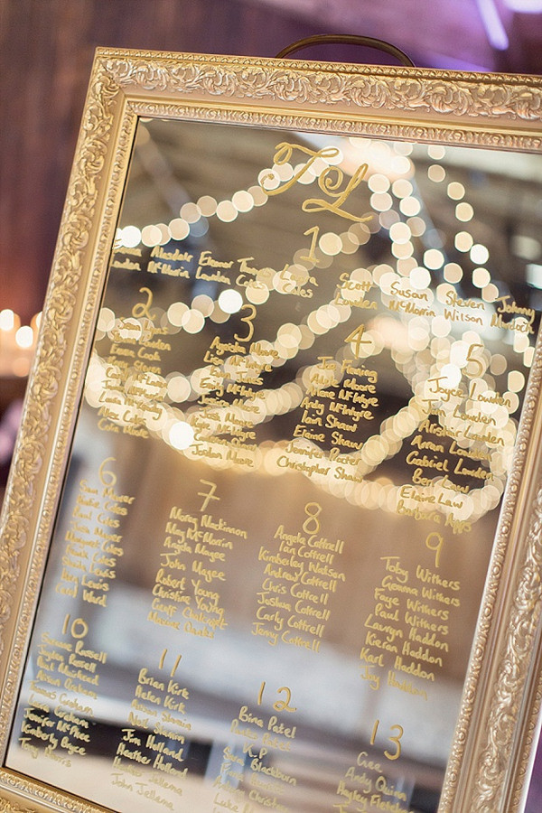 super elegant mirror wedding seating chart ideas