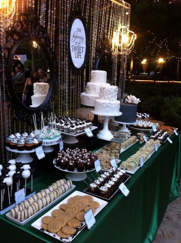 vintage rustic wedding dessert table decoration ideas