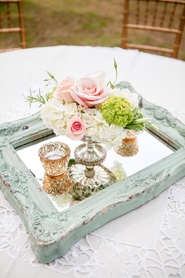 vintage wedding centerpiece ideas with mirror