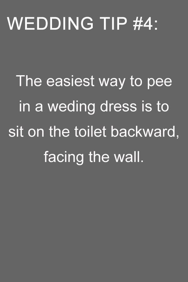 wedding tips to pee in a wedding dress