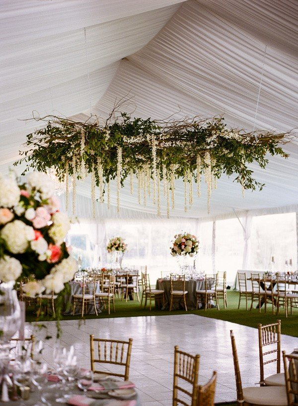 2017 trending tented wedding reception ideas with greenery chandelier