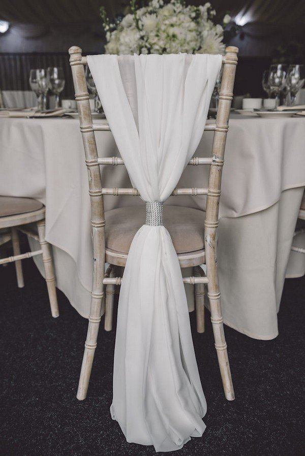White Chiffon Wedding Chair Decor and Silver Tie