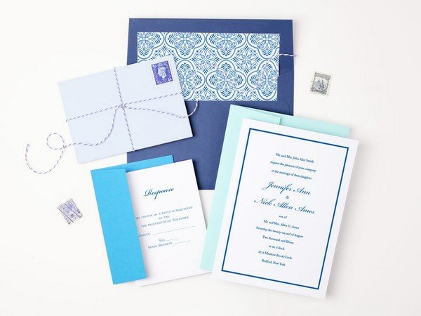 shades of blue wedding invitations for summer