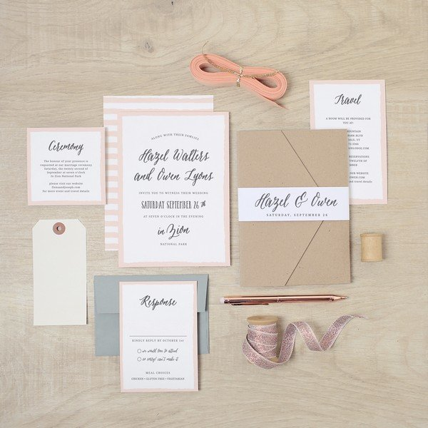 chic rustic pink striped wedding invitations