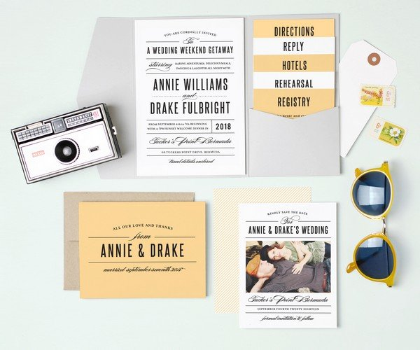 orange summer wedding invitation cards with gray pocket