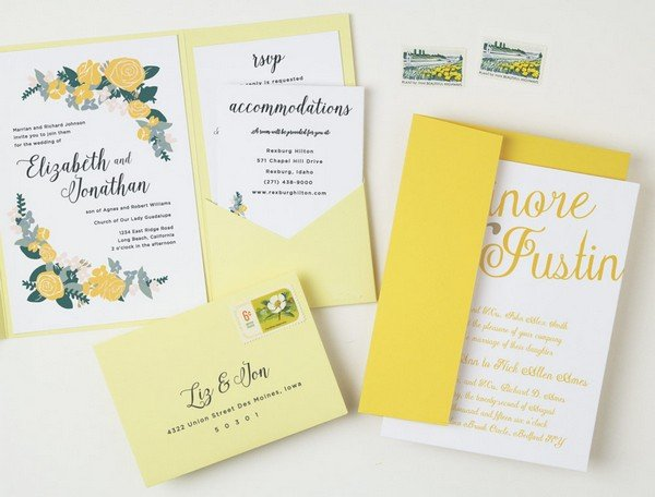 floral themed yellow summer wedding invitations