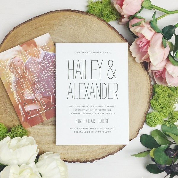 romantic photo themed wedding invitation cards