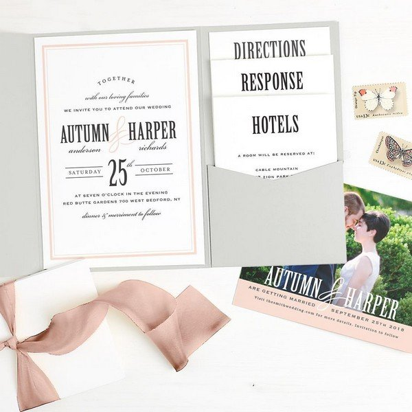 elegant pink and gray pocket wedding invitations