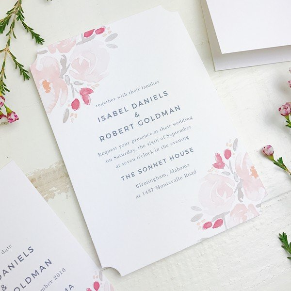 simple but elegant floral summer wedding invitation cards