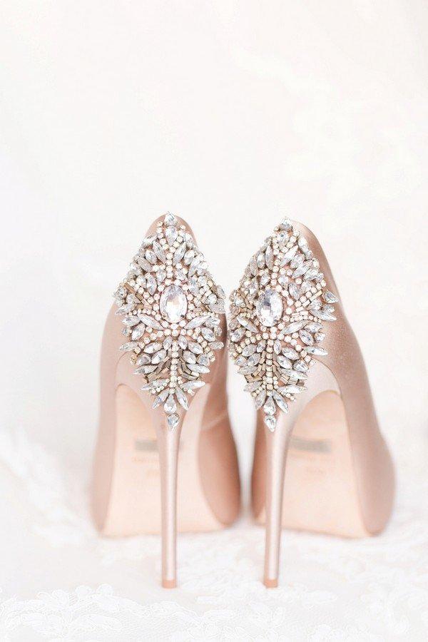 blush wedding heels with amazing back