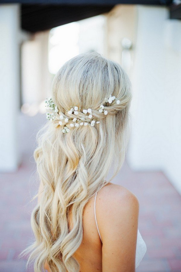 braid half up half down wedding hairstyles decorated with baby's breath