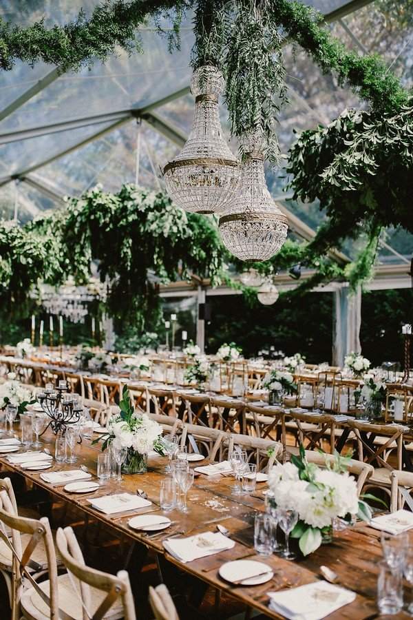 chic tented white and greenery reception ideas