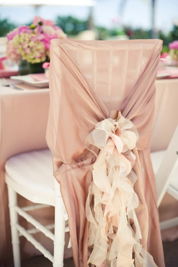 dusty pink wedding chair sash
