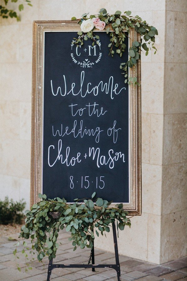elegant chalkboard wedding welcome sign ideas