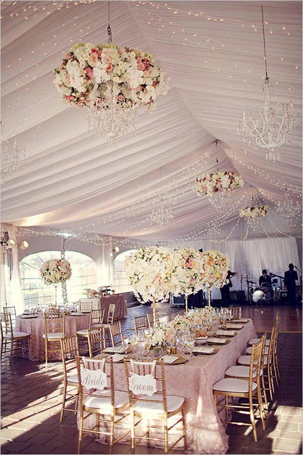 fancy pink and gold tented wedding ideas