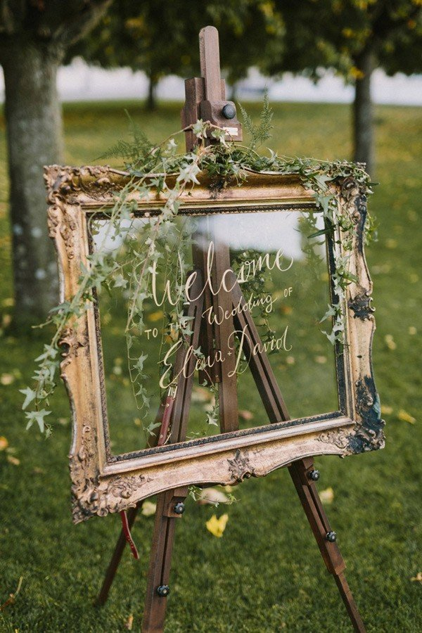 gold vintage wedding sign ideas