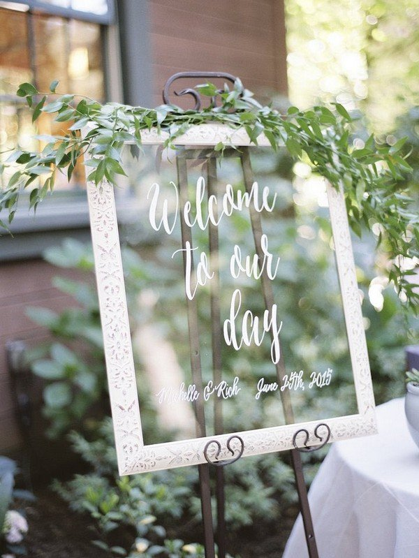 greenery elegant wedding sign ideas
