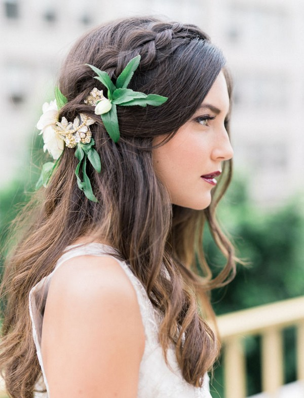 half up half down wedding hairstyles with greenery and gold hair piece