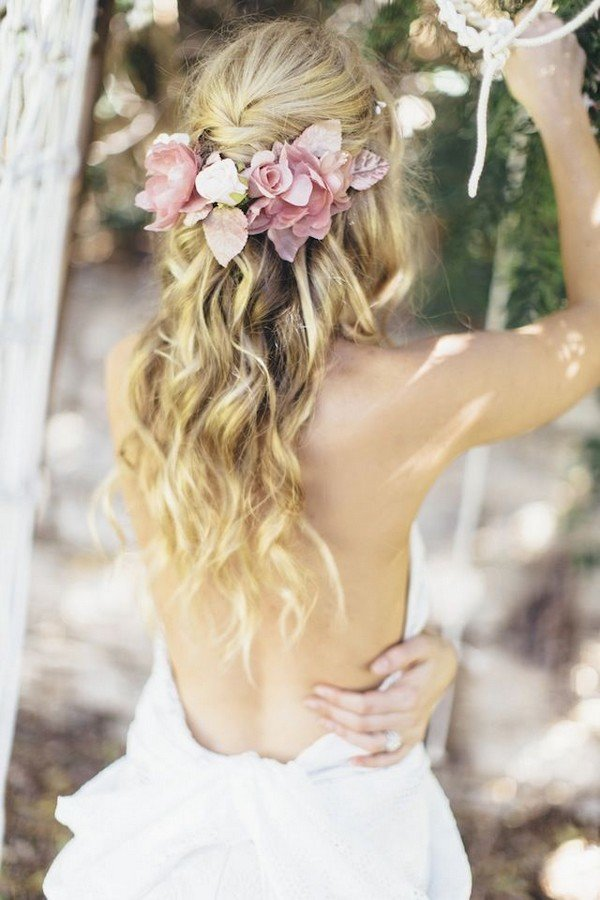 half up half down wedding hairstyles with pink flowers