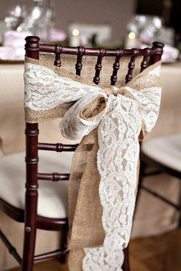 rustic lace and burlap wedding chair decoration ideas
