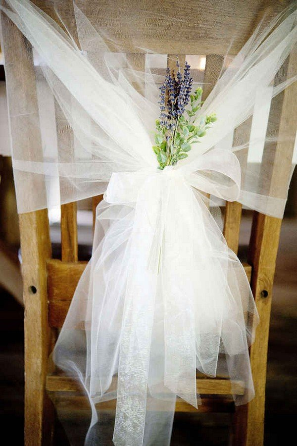 rustic tulle and lavender wedding chair decorations