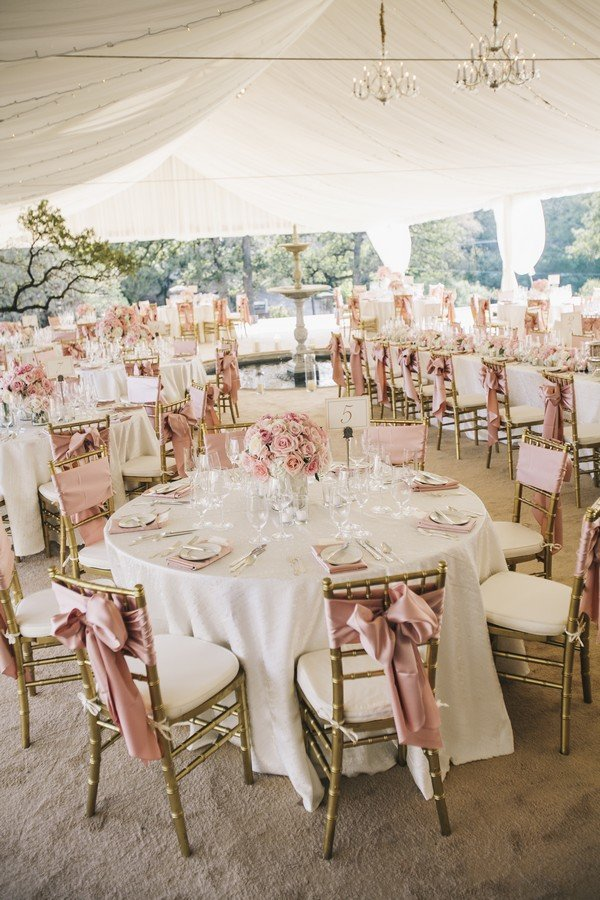 vintage blush and gold tented wedding reception ideas