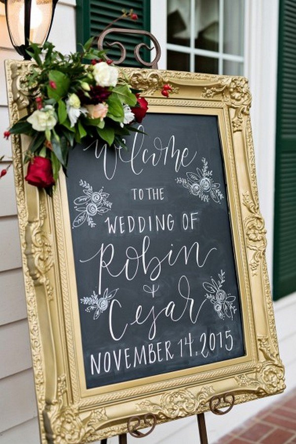 vintage chalkboard wedding welcome sign ideas with gold frame and floral