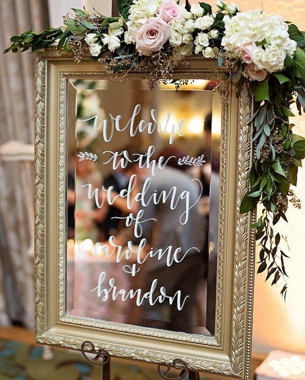 vintage gold mirror wedding welcome sign with floral