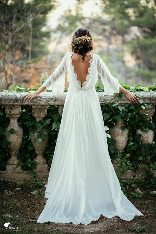 vintage open v back a line wedding dresses