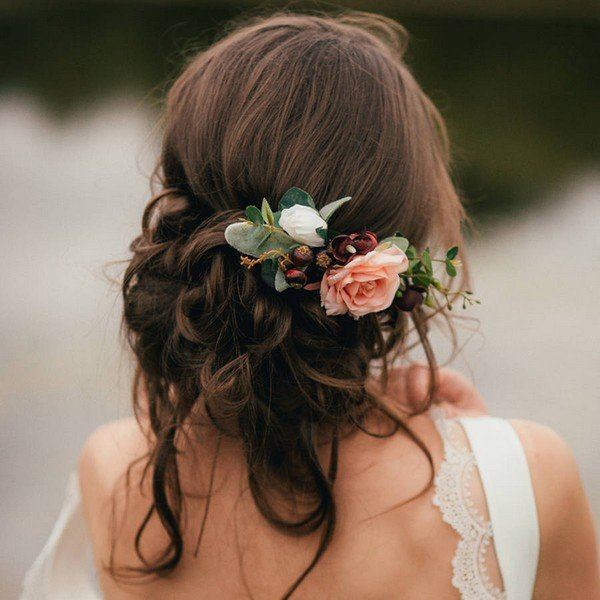 vintage updo wedding hairstyles with flowers
